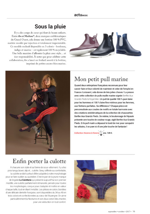 On parle de notre Pull Marin dans le magazine Mag'In france